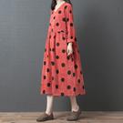 燈芯絨點點V領顯瘦洋裝-大尺碼 獨具衣格