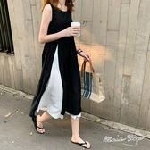 孕婦裝 MIMI別走【P52884】Chic法式設計 撞色拼接雪紡連身裙 洋裝 長裙