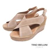 Tino Bellini 西班牙進口寬帶交叉魚口楔型涼鞋 _ 駝 A83026A 歐洲進口款