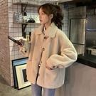羊羔毛外套 毛絨絨外套女秋冬加厚2021年新款韓版寬鬆羊羔毛開衫polo領上衣服 韓國時尚週