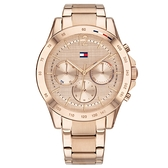 【台南 時代鐘錶 Tommy Hilfiger】1782197 日期星期顯示 三眼時髦 鋼錶帶女錶 38mm 玫瑰金
