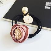 [輸入yahoo5再折!]韓國緞帶花朵珍珠鐵牌編織髮繩 髮束 ACE0019