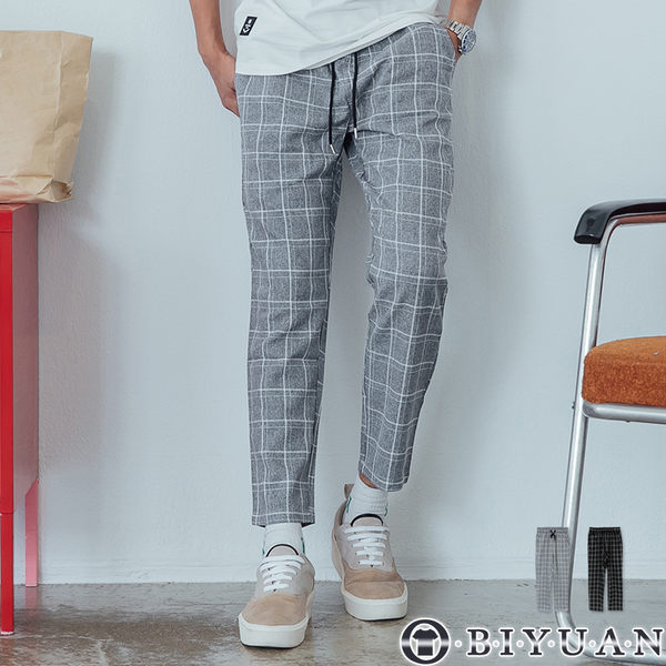 【OBIYUAN】休閒長褲 直筒 九分褲 格紋長褲 共2色【X6892】