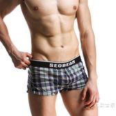 男士平角內褲寬鬆青年格子全棉薄款潮男褲四角家居短褲