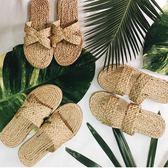 泰國手工草編草鞋 小清新人字拖女鞋 沙灘度假坡跟涼鞋編織拖鞋 小宅女