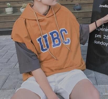 找到自己 MD 韓國 潮 男 時尚 寬鬆 純色素面 連帽 UBC字母印花 休閒背心 字母背心 無袖T恤
