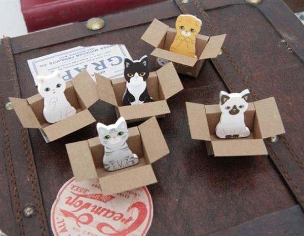 現貨-韓版Carton可愛紙箱貓咪 小巧便簽本便簽貼 隨機出貨【L014】『蕾漫家』