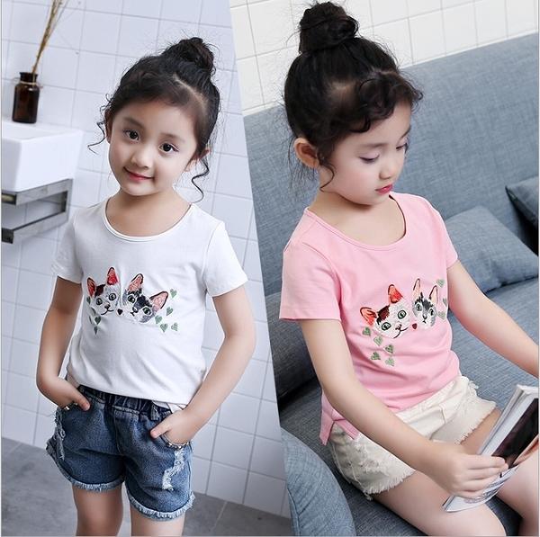 衣童趣 ♥韓版 中大女童 甜美款貓咪印花 休閒棉質上衣 休閒百搭 圓領短袖