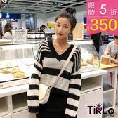 針織衫-Tirlo-推薦!性感微破黑色條紋針織衫-一色(現+追加預計5-7工作天出貨)