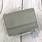 BRAND楓月 CELINE 灰綠短夾 薄荷綠 三折 皮夾 卡夾 錢包 錢夾 零錢包 荔枝紋 皮質 皮革 燙金 LOGO