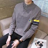Polo衫長袖正韓大碼潮流男士帥氣外穿秋衣上衣學生長袖T恤長軸寬鬆polo帶領小衫