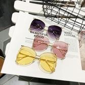 金屬鏤空大方框顯臉小眼鏡珍珠墨鏡太陽鏡【五巷六號】y240