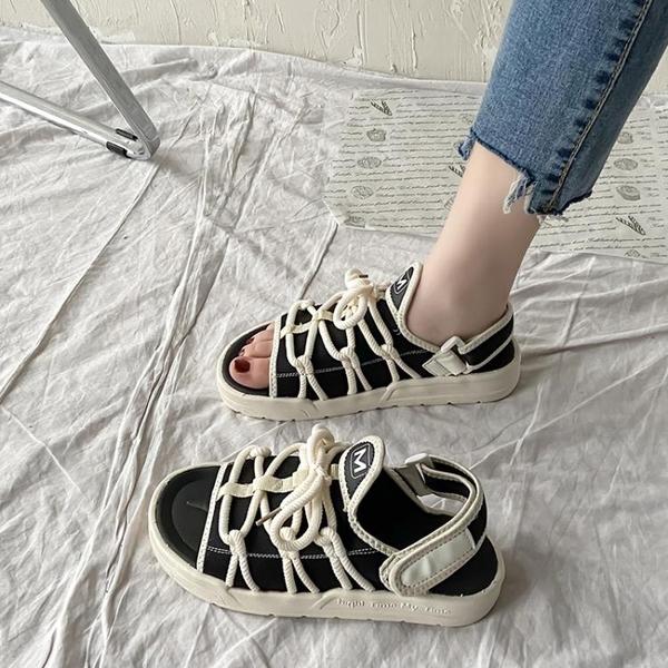 2021年新款夏季大學生百搭網紅超火平底厚仙女風運動涼鞋女ins潮 韓國時尚週 免運