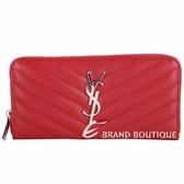 YSL Saint Laurent MONOGRAM 斜壓荔紋拉鍊長夾(紅色) 1620930-54