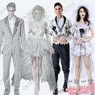 萬聖節服裝 男女成人新郎新娘情侶萬圣節服飾吸血鬼cos僵尸衣服女巫服裝大人