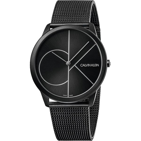 Calvin Klein CK Minimal 經典大LOGO手錶-黑/43mm K3M5T451