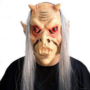 恐怖紅眼灰發鬼巫婆面具