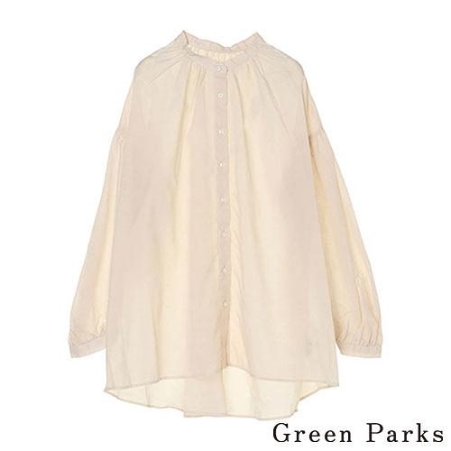 「Spring」領口抓摺長袖襯衫 - Green Parks