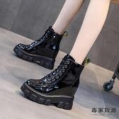 內增高女鞋秋冬靴子英倫風厚底百搭加絨馬丁短靴瘦瘦單靴【毒家貨源】