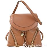 SEE BY CHLOE Olga 中型 雙拉鍊設計牛皮後背包(棕色)1740051-07