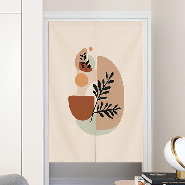 北歐簡約現代莫蘭迪門簾 (寬80*高90cm) 風水簾 免打孔掛簾訂製