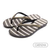 GRENDHA 海洋風黑白條紋人字鞋-黑色/金