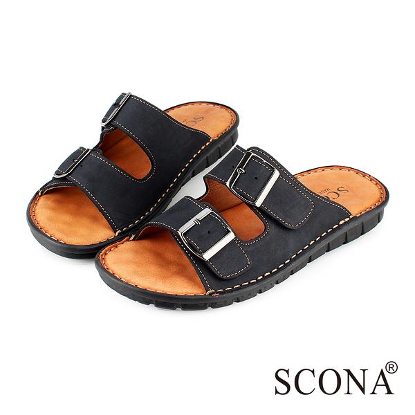 SCONA 全真皮 精緻手工厚底涼拖鞋 黑色 1735-1