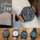 Maroon.香港FEIFAN。數學公式習題文青皮革錶帶手錶【tc450】*911 SHOP*