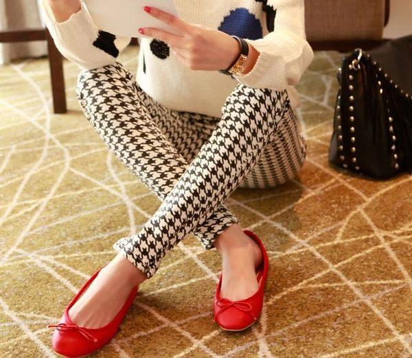 TwinS牛奶絲透氣薄款九分褲顯瘦打底褲鉛筆褲 千鳥格/細豎條