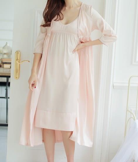 春夏新款真絲質絲綢睡衣女睡裙兩件套長袖睡袍吊帶裙套裝蕾絲花邊-11190022