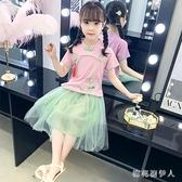 女童漢服連身裙夏季小女孩短袖民族風超洋氣女寶寶兒童公主紗洋裝 yu13478【棉花糖伊人】