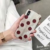ins酒紅復古圓波點iPhonex手機殼蘋果6splus女款7/8p軟殼全包