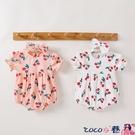 熱賣包屁衣 嬰兒夏季公主連體衣三角包屁衣爬服外出滿月寶寶櫻桃印花短袖哈衣 coco