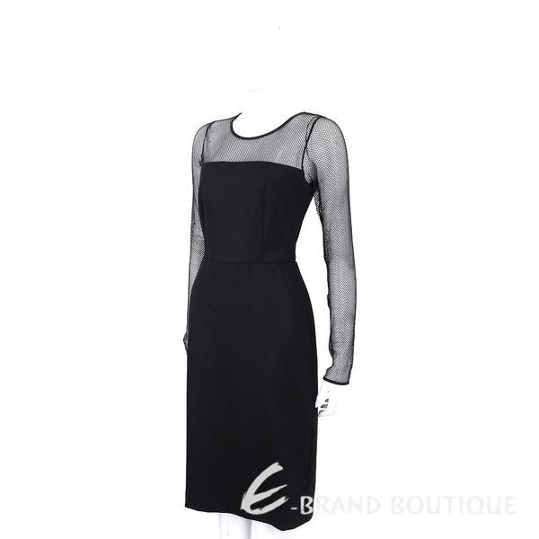 Max Mara 黑色網狀拼接羊毛長袖洋裝 1630030-01