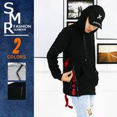 帽T-惻練印花緞帶帽T-街潮穿搭首選款《9997V322》灰色.黑色【現貨+預購】『SMR』
