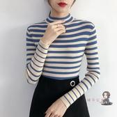 針織打底衫 半高領條紋修身毛衣女2019新款針織衫女秋冬長袖內搭緊身打底上衣 多色 交換禮物