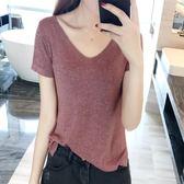 冰絲短袖t恤女韓版寬鬆v領半袖亮絲針織衫