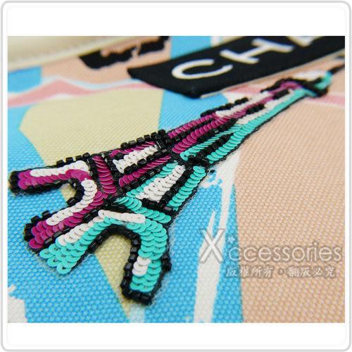 CHANEL Outlet 展示品 帆布塗鴉亮片刺繡手提包(黑)