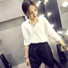 白色雪紡襯衫女短袖2021夏季新款韓版寬鬆百搭V領上衣職業裝春裝 【端午節特惠】