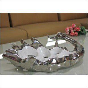 陶瓷鍍銀天鵝果盤/家居裝飾