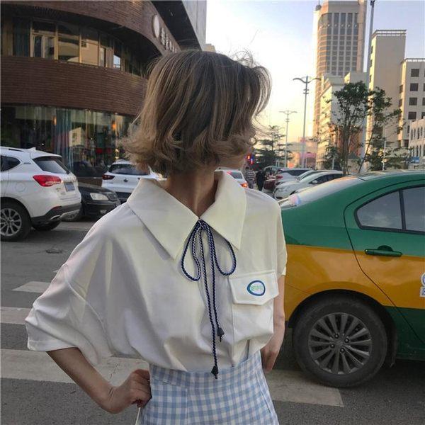 寬鬆上衣 白色短袖襯衫女夏韓版寬鬆學生百搭顯瘦翻領襯衣韓范上衣 綠光森林