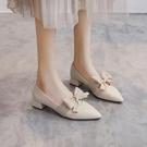 2021春季新款淺口尖頭仙女晚晚風溫柔鞋早春蝴蝶結中跟粗跟單鞋女 好樂匯