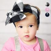 棉感點點格紋綁帶髮帶 兒童髮飾 髮帶