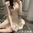 連衣裙女2020年新款性感緊身打底洋氣小個子針織毛衣長袖裙子秋冬 小艾新品