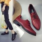 韓版女士鞋平底系帶小皮鞋學院風低跟單鞋女...