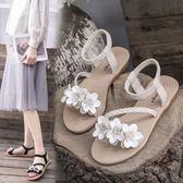 涼鞋女 仙女風涼鞋女學生夏季女鞋正韓百搭沙灘鞋平底厚底羅馬鞋