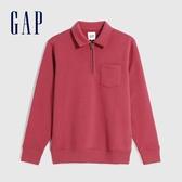 Gap男裝 簡約風格拉鍊半開卷上衣 627566-玫瑰紅