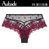 Aubade夏日浪漫S-XL刺繡平口褲(黑紅)PB