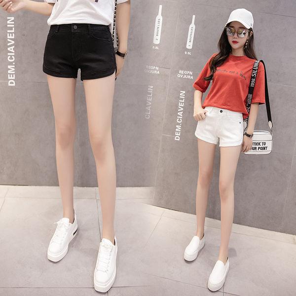 【GZ C1】牛仔短褲 韓版低腰黑色牛仔褲 彈力緊身顯瘦超短褲