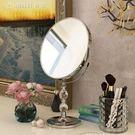 臺式雙面不銹鋼化妝鏡歐式梳妝鏡三倍放大隨...